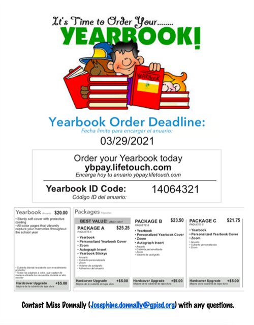 Yearbook Order info