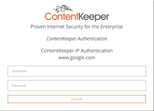Image of Content Keeper login screen