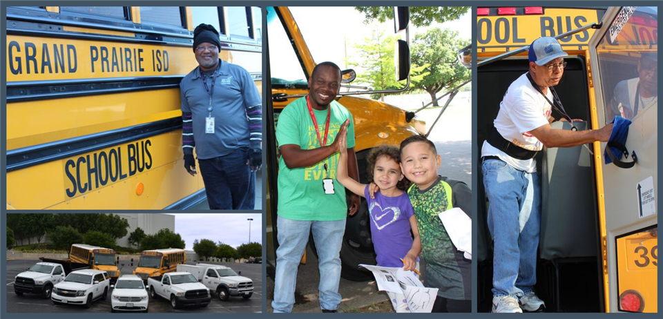 a photo collage of bus drives, students, and the fleet