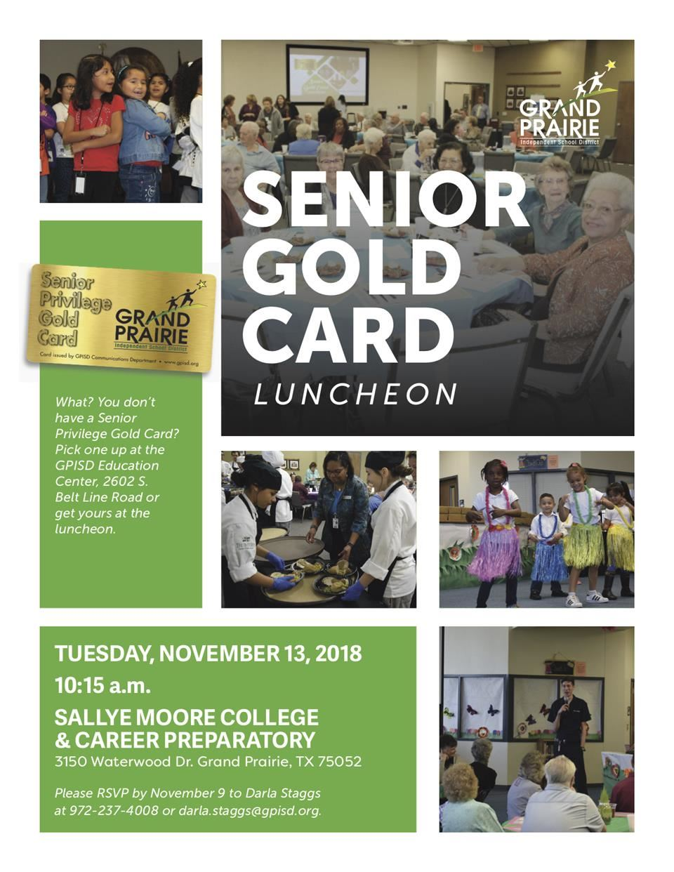 2018 Fall Senior Gold Card Luncheon flyer - information also placed on webpage - decorative