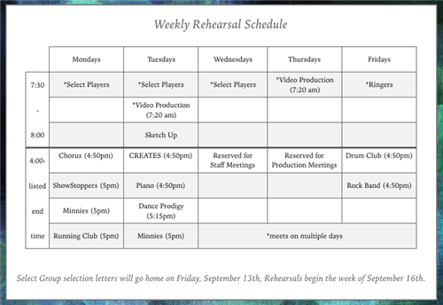 2019-2020 Weekly Rehearsal Schedule