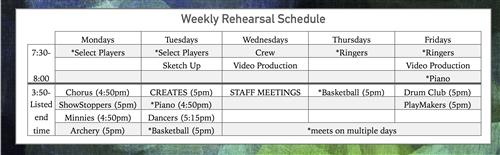 Weekly Rehearsal Schedule