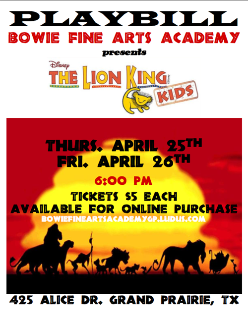 BFAA Presents The Lion King Kids