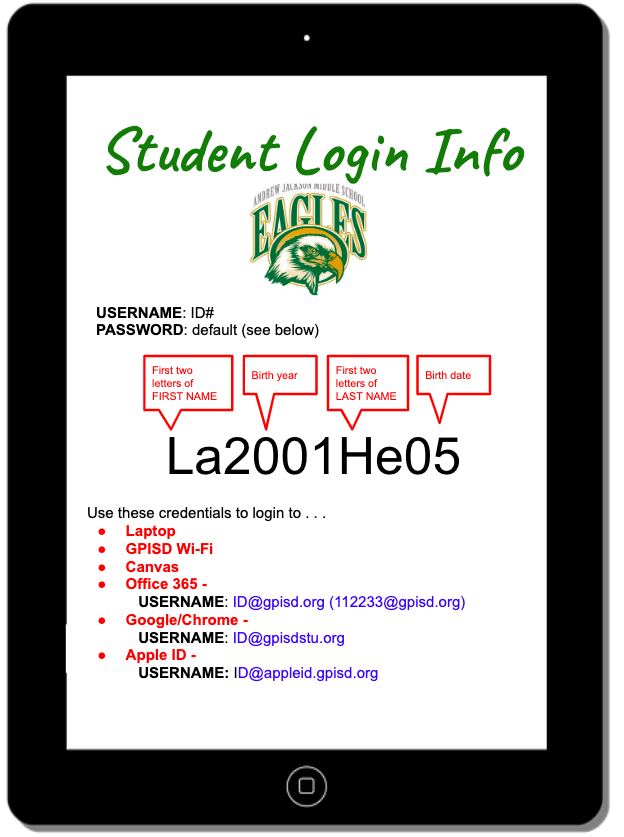 Student Log-in Information