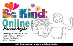 Be Kind Online Parent Night, Mar 26, 6pm, SGHS Theatre