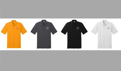 Photo of collared short sleeved shirts in yellow, grey, black and white