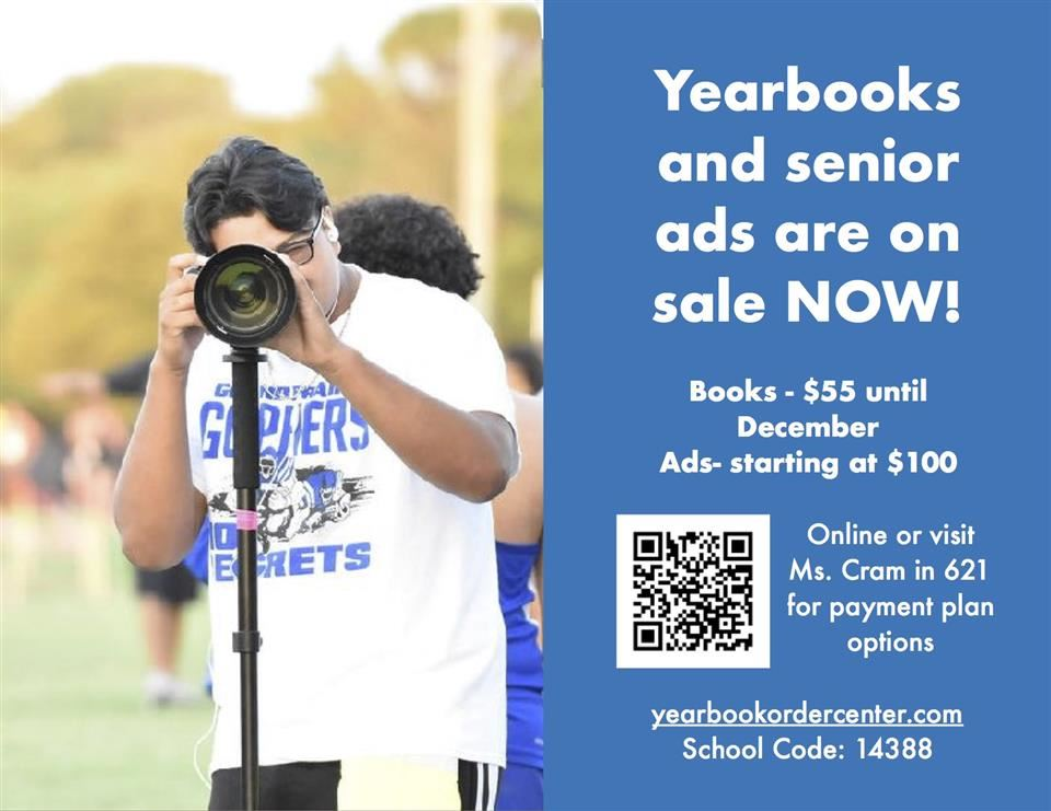 Yearbook sales flyer. Student holding a camera on a monopod.