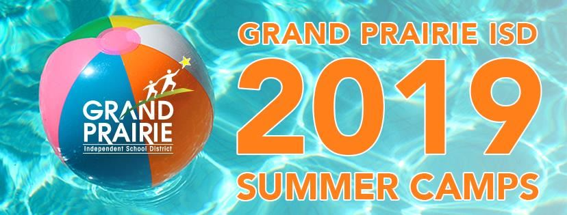 Grand Prairie ISD 2019 Summer Camps header graphic - decorative image