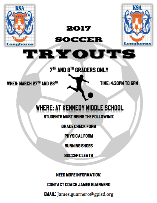 soccer tryout announcement