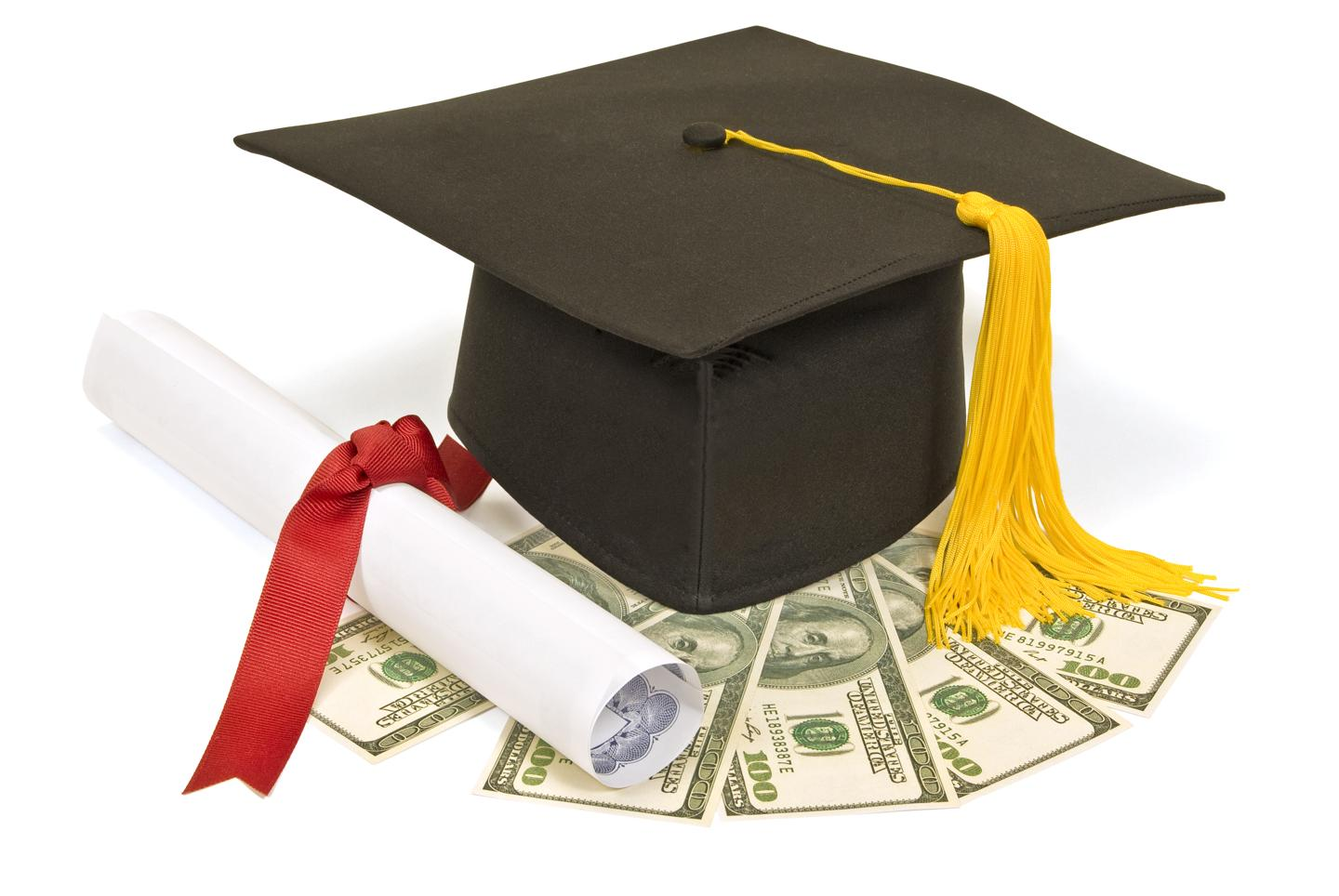 graduation hat and money